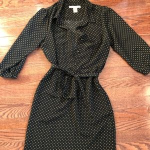 Dotted belted tie dress